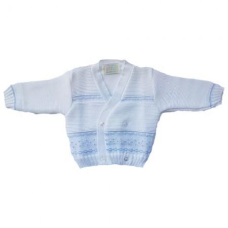 Cardigan scaldacuore incrociatino coprifasce bimbo neonato bianco cielo