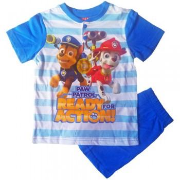Pigiama maglia maglietta pantaloncino bimbo bambino Paw Patrol azzurro