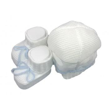 Set 2pz cappello cappellino scarpine cotone La Rocca bimbo neonato bianco cielo