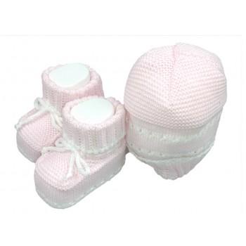 Set 2pz cappello cappellino scarpine cotone La Rocca bimba neonato rosa