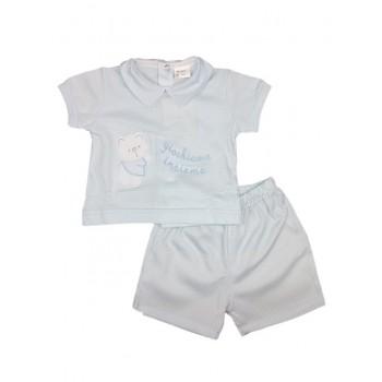Completo maglia maglietta pantaloncino  bimbo neonato Birillini cielo