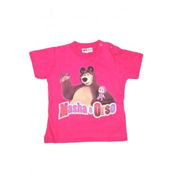 T-shirt maglia maglietta bimba neonata Masha e orso fucsia