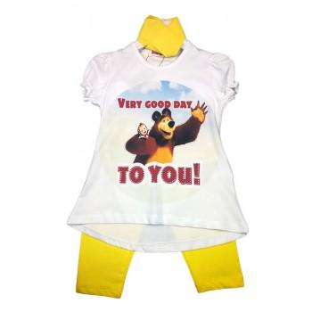 Completo maglia maglietta leggings bimba bambina Masha e Orso giallo