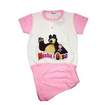Pigiama completo maglia maglietta pantaloncino bimba bambina Masha e Orso rosa
