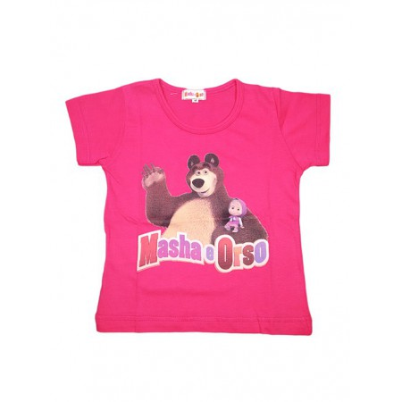 T-shirt maglia maglietta bimba bambina Masha e Orso fucsia