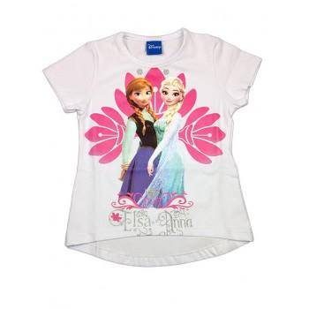 T-shirt maglia maglietta cotone elastico bimba bambina Disney Frozen bianco