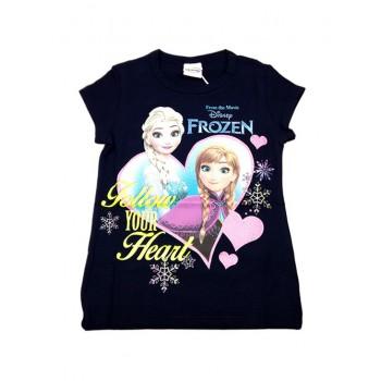 T-shirt maglia maglietta cotone bielastico bimba bambina Disney Frozen blu