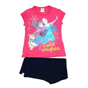 Completo 2pz T-shirt maglia maglietta pantaloncino cotone bielastico bimba bambina Disney Frozen fucsia blu