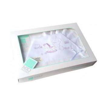 Completo lettino culla Mio Piccolo bimbo neonato lenzuolo ricamo coniglietto bianco glicine