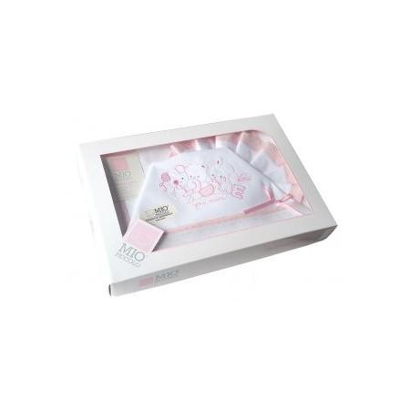 Completo lettino culla Mio Piccolo bimbo neonato lenzuolo ricamo orsetti rosa