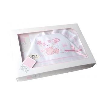 Completo lettino culla Mio Piccolo bimba bimbo neonato lenzuolo ricamo orsetti bianco rosa