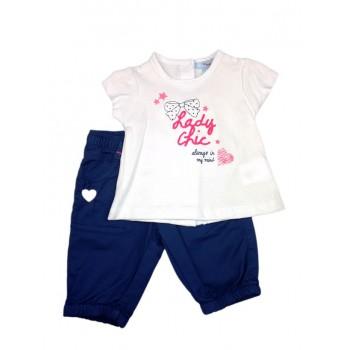 Completo 2pz maglia pantalone bimba neonato mezza manica Yatsi bianco blu