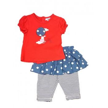 Completo 2pz maglia gonnellina con leggings bimba neonato mezza manica con volant Yatsi rosso jeans