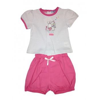 Completo 2pz maglia pantaloncino bimba neonato mezza manica Yatsi bianco fucsia