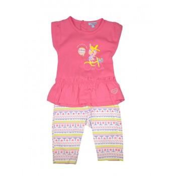 Completo 2pz maglia canotta leggings bimba neonato senza manica Yatsi fucsia fantasia