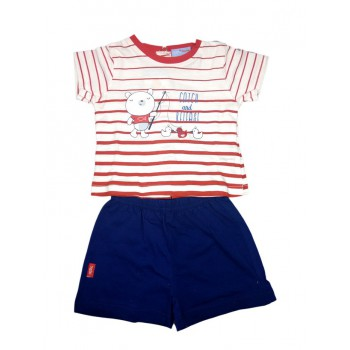 Completo 2pz maglia pantaloncino bimbo neonato mezza manica Yatsi rosso blu