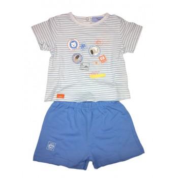 Completo 2pz maglia pantaloncino bimbo neonato mezza manica Yatsi bianco cielo