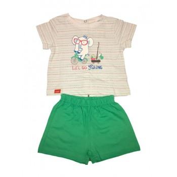Completo 2pz maglia pantaloncino bimbo neonato mezza manica Yatsi bianco verde