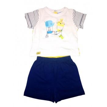 Completo 2pz maglia pantaloncino bimbo neonato mezza manica Yatsi bianco blu