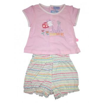 Completo 2pz maglia pantaloncino bimba neonato mezza manica Yatsi rosa fantasia