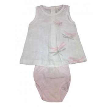 Completo 2pz abitino canotta con slip bimba neonato senza manica Rapife bianco rosa