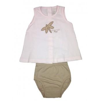 Completo 2pz abitino canotta con slip bimba neonato senza manica Rapife rosa marroncino