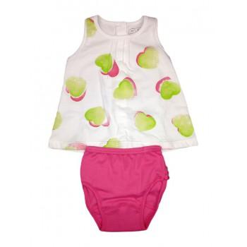 Completo 2pz abitino canotta con slip bimba neonato senza manica Rapife bianco fucsia