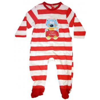Tuta tutina cotone bimbo neonato Yatsi righe bianco rosso