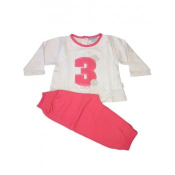 Completo tuta 2pz maglia maglietta pantalone bimba neonato Yatsi rosa fucsia