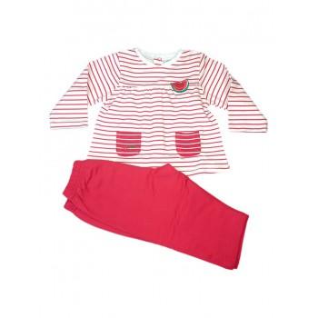 Completo tuta 2pz maglia maglietta pantalone bimba neonato Yatsi rosso fucsia