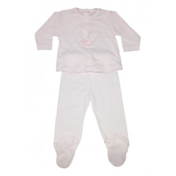 Completo 2pz tshirt e ghettina bimba neonato Rapife rosa