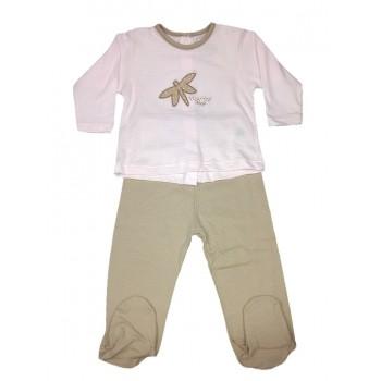 Completo 2pz tshirt e ghettina bimba neonato Rapife rosa marroncino
