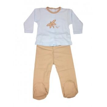 Completo 2pz tshirt e ghettina bimbo neonato Rapife cielo marroncino