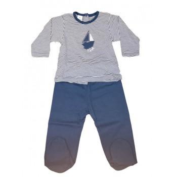 Completo 2pz tshirt e ghettina bimbo neonato Rapife bianco blu