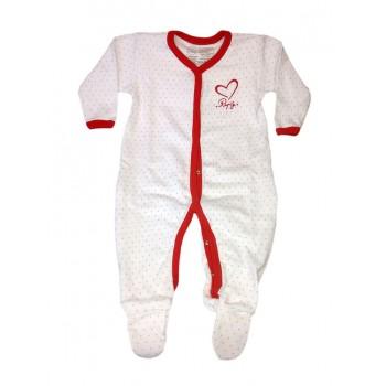 Tuta tutina cotone bimba neonato Rapifei bianco rosso