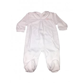 Tuta tutina cotone bimba neonato Rapife bianco pois rosa