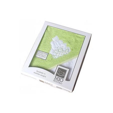 Accappatoio triangolo telo spugna bimbo bimba neonato ricamo orsetto verde