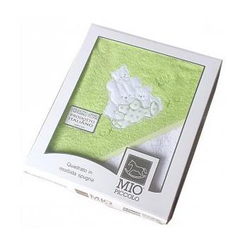 Accappatoio triangolo telo spugna Mio Piccolo bimbo bimba neonato ricamo orsetto verde