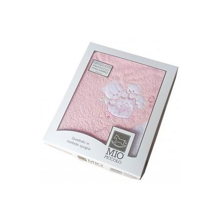 Accappatoio triangolo telo spugna bimba neonato ricamo orsetto con stella rosa