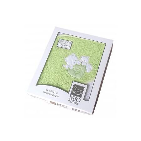 Accappatoio triangolo telo spugna bimbo bimba neonato ricamo orsetto con stella verde