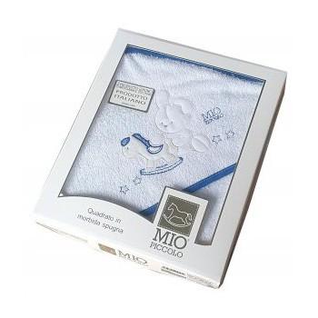 Accappatoio triangolo telo spugna Mio Piccolo bimbo neonato ricamo coniglio bianco blu