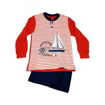 Pigiama maglia maglietta pantalone bimbo bambino Navigare rosso blu