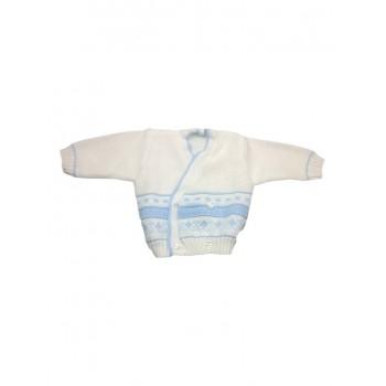 Cardigan scaldacuore incrociatino coprifasce bimbo neonato panna