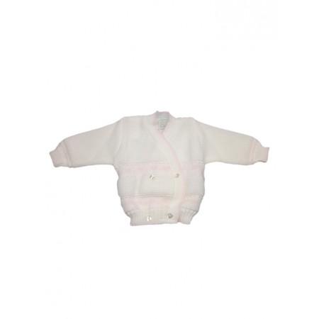 Cardigan scaldacuore incrociatino coprifasce bimba neonato panna