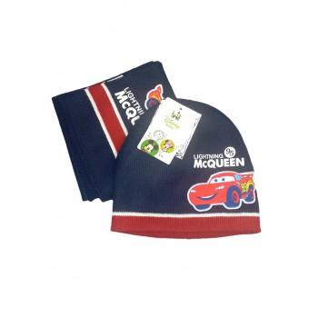 Set 2pz cappellino cappello sciarpa bimbo bambino cars  blu