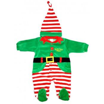 Tuta tutina vestito abito Elfo Folletto Natale ciniglia bimbo bimba neonato Irge