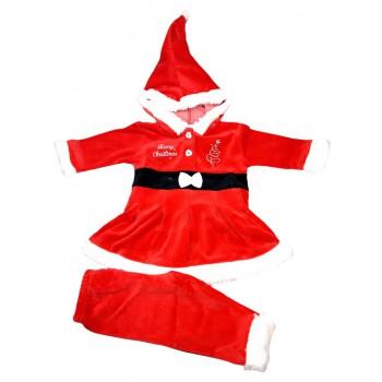 Vestitino abitino Babbo Natale ciniglia bimba neonato Irge