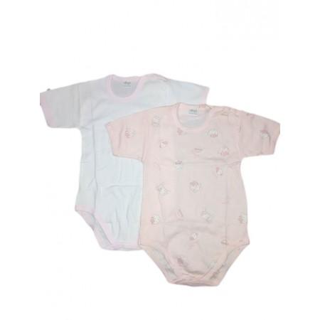 Bi-pack body intimo bimba neonato mezza manica Ellepi bianco rosa