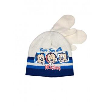 Set 2pz cappello cappellino muffole guanti bimbo bambino Disney baby Mickey panna