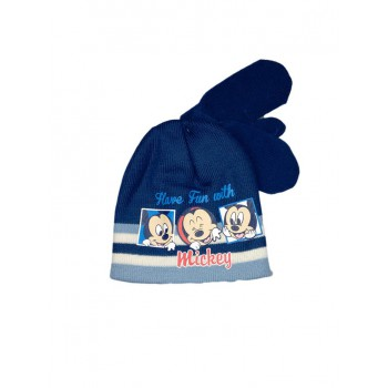 Set 2pz cappello cappellino muffole guanti bimbo bambino Disney baby Mickey blu